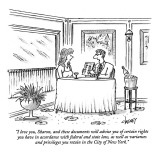 """I love you, Sharon, and these documents will advise you of certain rights…"" - New Yorker Cartoon Premium Giclee Print by Tom Cheney"