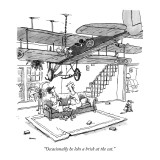 """""""Occasionally he lobs a brick at the cat."""" - New Yorker Cartoon Premium Giclee Print by George Booth"""