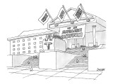 "A grand institution with a large toaster statue in front has three flag, r…"" - New Yorker Cartoon Premium Giclee Print by Jack Ziegler"