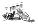 A therapist's couch, tilts up as the he presses a button, and slides a pat… - New Yorker Cartoon Premium Giclee Print by Donald Reilly