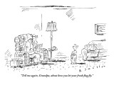 """Tell me again, Grandpa, about how you let your freak flag fly."" - New Yorker Cartoon Premium Giclee Print by Barbara Smaller"