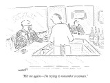 """""""Hit me again—I'm trying to remember a woman."""" - New Yorker Cartoon Premium Giclee Print by Robert Mankoff"""