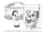"""""""Look, lady, we're not bad people—we're just really lousy at what we do."""" - New Yorker Cartoon Premium Giclee Print by Pat Byrnes"""