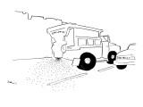 Dump truck spreading sprinkles onto the street. - New Yorker Cartoon Premium Giclee Print by Michael Shaw