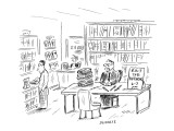 Man, at table in bookstore, with a sign that reads 'Edit The Author 6--7 P… - New Yorker Cartoon Premium Giclee Print by David Sipress
