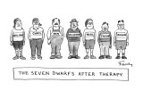 Seven dwarfs standing in a row looking very normal with their real names a… - New Yorker Cartoon Premium Giclee Print by Mike Twohy