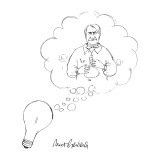 A lightbulb thinking of a chemist. - New Yorker Cartoon Premium Giclee Print by Mort Gerberg