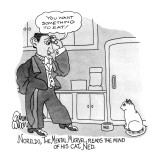 Noreldo, The Mental Marvel, Reads The Mind Of His Cat, Ned: - New Yorker Cartoon Premium Giclee Print by Gahan Wilson