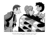 """""""I need a box of the gayest chocolate you've got."""" - New Yorker Cartoon Premium Giclee Print by William Haefeli"""