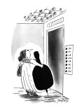 Cello player waits for elevator, who's buttons are marked 'Do, Re, Mi, Fa,… - New Yorker Cartoon Premium Giclee Print by Peter Porges