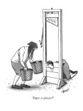 """Paper or plastic?"" - New Yorker Cartoon Premium Giclee Print by Tom Cheney"
