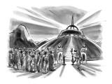 Crowd waits behind velvet rope before boarding flying saucer. - New Yorker Cartoon Premium Giclee Print by Lee Lorenz