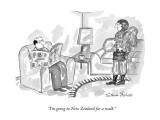 """I'm going to New Zealand for a walk."" - New Yorker Cartoon Premium Giclee Print by Victoria Roberts"
