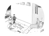 Police at a crime scene with a chalk figure outlined, as another chalk fig… - New Yorker Cartoon Premium Giclee Print by Glen Le Lievre