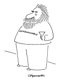 "Bearded fat man stands with cocktail glass and t-shirt reading ""Approachab…"" - New Yorker Cartoon Premium Giclee Print by Charles Barsotti"