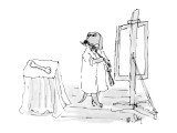 Dog in painter's frock painting a bone. - New Yorker Cartoon Premium Giclee Print by William Steig