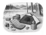 A camper inflates his mattress and inflatable house furniture. - New Yorker Cartoon Premium Giclee Print by Harry Bliss
