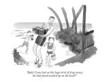 """Baby! Come look at this huge brick of drug money the kids found washed up…"" - New Yorker Cartoon Premium Giclee Print by Marshall Hopkins"