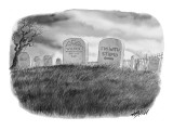 Gravestone engraved, 'I'm With Stupid,' and an arrow pointing to the neigh… - New Yorker Cartoon Premium Giclee Print by Harry Bliss