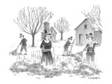 Pilgrims burning pile of leaves with a witch in the center. - New Yorker Cartoon Premium Giclee Print by Pat Byrnes