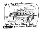 It's Ten O'Clock Do You Know Where Your Salt 'n' Pepper Shakers Are? - New Yorker Cartoon Premium Giclee Print by Stephanie Skalisky