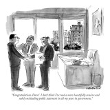 """Congratulations, Dave!  I don't think I've read a more beautifully evasiv…"" - New Yorker Cartoon Premium Giclee Print by James Stevenson"