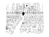 Judge and participants in the trial all stand before the court holding han… - New Yorker Cartoon Premium Giclee Print by Mischa Richter