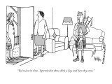 """""""You're just in time.  I permit him three skirls a day, and here they come…"""" - New Yorker Cartoon Premium Giclee Print by George Price"""