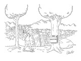 Man backpacking through forest finds a suggestion box attached to a tree. - New Yorker Cartoon Premium Giclee Print by Eric Lewis