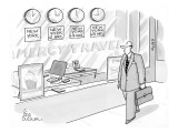 "Businessman walks past travel agency with four time zone-type clocks, one …"" - New Yorker Cartoon Premium Giclee Print by Leo Cullum"