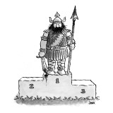 Viking warrior stands atop winners' platform with bloody weapons in hand; … - New Yorker Cartoon Premium Giclee Print by John Jonik