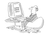 Man's computer screen gives him the message, 'Human Error. Again.' - New Yorker Cartoon Premium Giclee Print by Dean Vietor