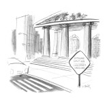 "Crossing sign reads, ""Extreme Caution/Lawyers Crossing"" in front of a cour… - New Yorker Cartoon Premium Giclee Print by Donald Reilly"