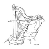 A large lady harpist prepares to shoot an arrow, using her harp as a bow. - New Yorker Cartoon Premium Giclee Print by Al Ross