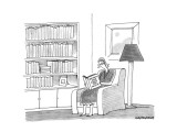Woman reading book &quot;Women who read too much&quot;. - New Yorker Cartoon Premium Giclee Print by Mick Stevens