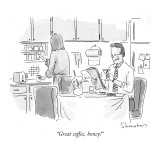 """Great coffee, honey!"" - New Yorker Cartoon Premium Giclee Print by Danny Shanahan"