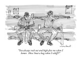 """You always rush out and high-five me when I homer.  How 'bout a hug when …"" - New Yorker Cartoon Premium Giclee Print by Michael Crawford"