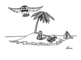 The owl flies off, leaving the pussycat on a desert island with the broken… - New Yorker Cartoon Premium Giclee Print by J.P. Rini