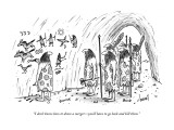 """I don't know how to draw a merger—you'll have to go back and kill them."" - New Yorker Cartoon Premium Giclee Print by Tom Cheney"