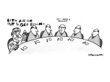 "Men in meeting while one abstract man says ""Lets all go out & get drunk"" w… - New Yorker Cartoon Premium Giclee Print by Charles Barsotti"
