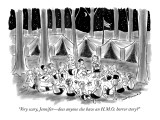 """Very scary, Jennifer—does anyone else have an H.M.O. horror story?"" - New Yorker Cartoon Premium Giclee Print by Nick Downes"