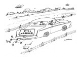 Sign on back of car. - New Yorker Cartoon Premium Giclee Print by Michael Maslin