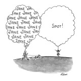 Boy thinking only of Jane sees her, as she thinks only of Spot, the dog. - New Yorker Cartoon Premium Giclee Print by J.P. Rini