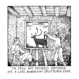 """I'M STILL NOT ENTIRELY CONVINCED IT'S A LATE MONDRIAN!"" SPLUTTERED ZEKE. - New Yorker Cartoon Premium Giclee Print by Glen Baxter"