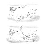 Two panel drawing.  Hunter shoots into the air & dog bounds away; dog retu… - New Yorker Cartoon Premium Giclee Print by Arnie Levin