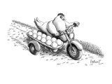 Chickhen on motercycle with eggs in dozen carton side car. - New Yorker Cartoon Premium Giclee Print by Anthony Taber