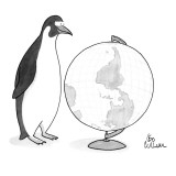 Happy penguin looking at upside-down globe; Antarctica is on top. - New Yorker Cartoon Premium Giclee Print by Leo Cullum