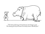 """The bunny did not get the job because the bunny is cute. The bunny got th…"" - New Yorker Cartoon Premium Giclee Print by Charles Barsotti"
