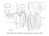 """This is Mr. Norris. He'll be coming on board as a human shield."" - New Yorker Cartoon Premium Giclee Print by Robert Mankoff"