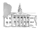 """Large  building with title """"Harvard Business & Pleasure School"""". - New Yorker Cartoon Premium Giclee Print by Michael Crawford"""